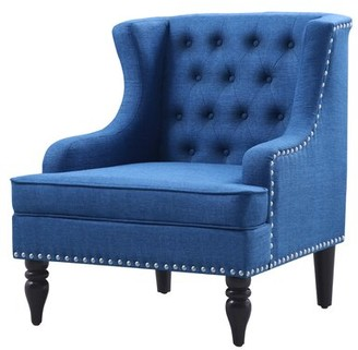 Three Posts Robby Charlton Wingback Chair Fabric: Navy Blue