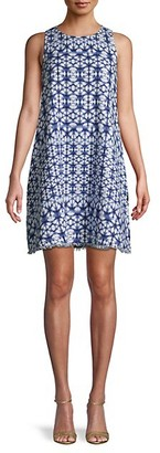Pure Navy Print Linen Shift Dress