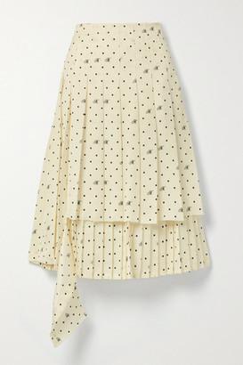 Monse Asymmetric Layered Pleated Polka-dot Satin-twill Midi Skirt - Ivory