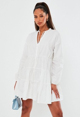 Missguided White Tie Neck Tiered Smock Dress