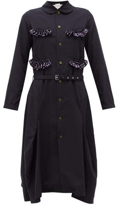 Comme des Garcons Ruffle-trim Belted Canvas Midi Dress - Womens - Navy