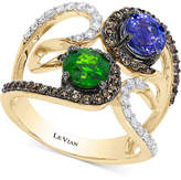 LeVian Le Vian Chocolatier Neo Geo Multi-Gemstone (1-3/8 ct. t.w.) and Diamond (5/8 ct. t.w.) Swirl Ring in 14k Gold, Created for Macy's