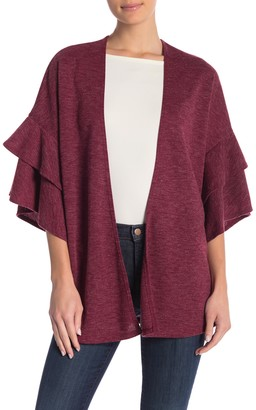 Blvd Tiered Ruffle Sleeve Cardigan Sweater