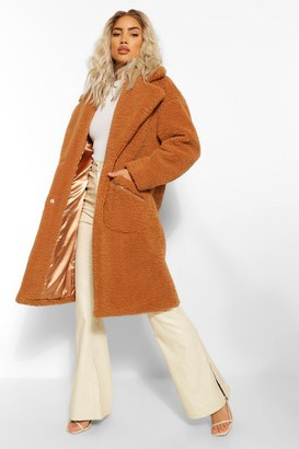 boohoo Pocket Detail Teddy Faux Fur Coat