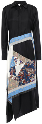 3.1 Phillip Lim Asymmetric Patchwork-paneled Silk-twill Midi Shirt Dress