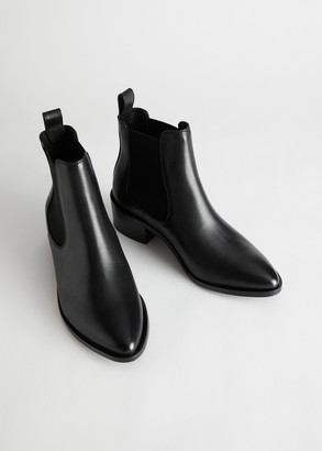 And other stories Leather Pointed Toe Chelsea Boots