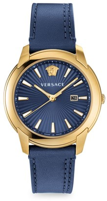 Versace V-Urban Goltone Leather Strap Watch