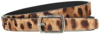Saint Laurent Leopard-print calf hair belt