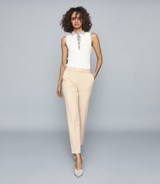 Reiss Joanne - Slim Fit Tailored Trousers in Cream
