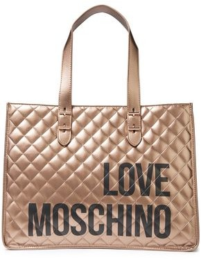 Love Moschino Quilted Logo-print Faux Leather Tote