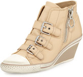 Ash Gin Bis Buckled Leather Wedge Sneaker, Clay
