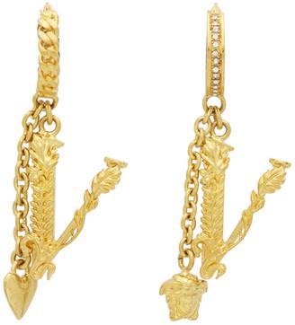 Versace Gold V Leaves Earrings
