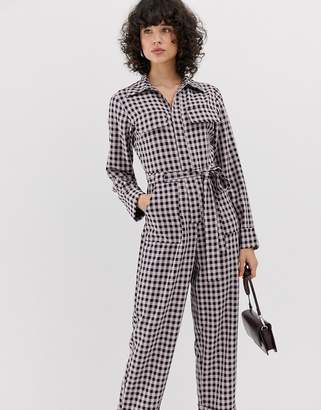 Lost Ink boiler suit with belted waist in check-Pink