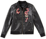 Marciano Big Girls 7-16 Embroidered Faux-Leather Bomber Jacket
