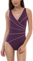 Delimira Women's Slimming One Piece Piped Plus Size Swimsuit Bathing Suit