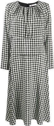 Ports 1961 Houndstooth-Print Flared Dress