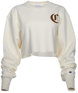 Champion Reverse Weave(r) Crop Crew - Old English (Chalk White) Women's Clothing