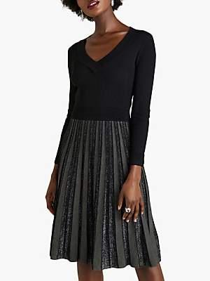 Yumi Glitter Pleated Knit Dress, Black