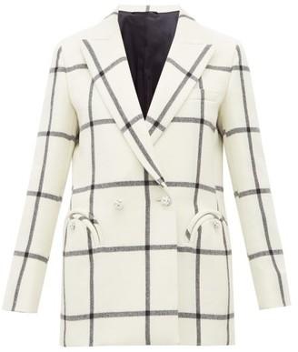 BLAZÉ MILANO Magda Windowpane Check Wool Blazer - Womens - White Black