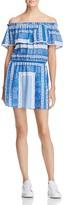 Aqua Bandana Print Off-The-Shoulder Dress