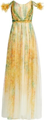 Marchesa Notte Printed Tulle Gown