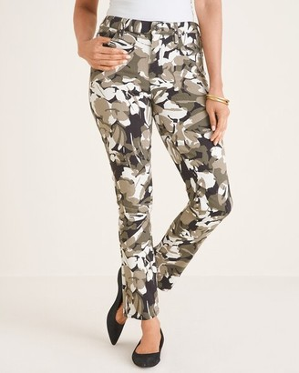 So Slimming Camo-Floral Print Girlfriend Ankle Jeans