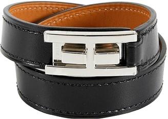Hermes Drag Double Tour Black Leather Bracelets