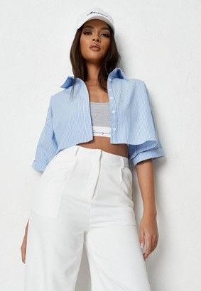 Missguided Blue Poplin Pinstripe Crop Shirt