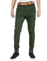 ITALY MORN Men Chinos Jogger Casual Pants Twill s Slim Elastic Cuff S