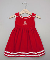 Princess Linens Red Initial A-Line Corduroy Dress - Infant, Toddler & Girls