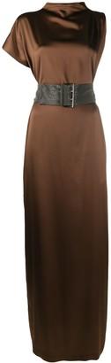 Brunello Cucinelli Asymmetric Sleeve Silk Gown