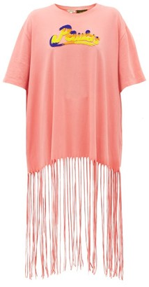Loewe Paula's Ibiza - Bead-embroidered Logo Fringed T-shirt - Womens - Pink