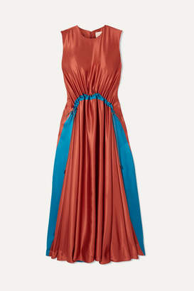 Roksanda Keeva Gathered Two-tone Silk-satin Midi Dress - Orange