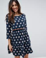 Yumi Long Sleeve Belted Dress In Tulip Heart Print