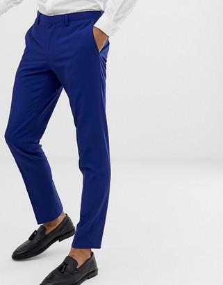Burton Menswear wedding skinny fit suit trousers in blue