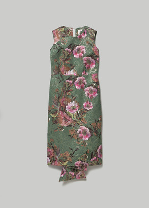 Comme des Garcons Women's Jacquard Flower Print Sleeveless Dress in Green/Pink Size 1