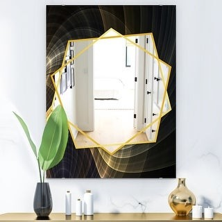 Design Art Designart Yellow Fractal Light Art Modern Mirror Frameless Contemporary Wall Mirror Shopstyle