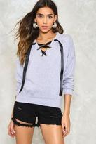 Nasty Gal nastygal Not Just a Pretty Lace-Up Sweatshirt