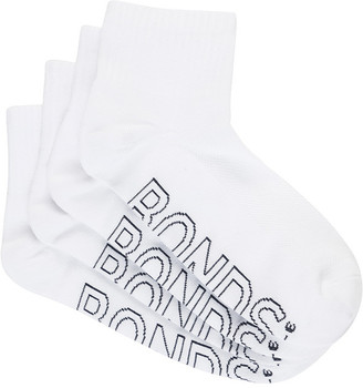 Bonds Womens Logo Light Quarter Crew Socks 4 Pack