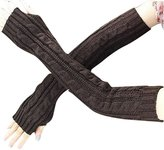 Drasawee Women Knitted Crochet Long Fingerless Gloves With Thumb Hole DarkBrown
