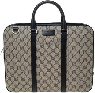 Gucci Black/Beige GG Supreme Canvas and Leather Briefcase