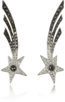 Bernard Delettrez Shooting Stars White Gold Earrings w/Diamonds