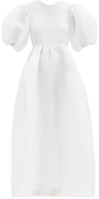 Cecilie Bahnsen Lola Puff-sleeve Open-back Stream-jacquard Dress - White