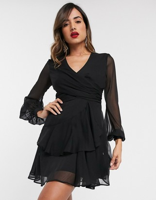 ASOS DESIGN wrap waist mini dress with double layer skirt and long sleeve in black