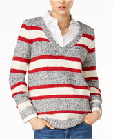 Tommy Hilfiger Lillian Striped V-Neck Sweater, Only at Macy's