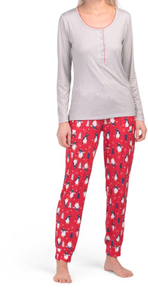 Christmas Penguins Henley Tee With Jogger Pj Set