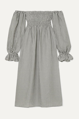 Sleeper - Atlanta Off-the-shoulder Shirred Gingham Linen Midi Dress - Black