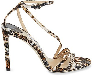 Jimmy Choo Snake-Print Strappy Stiletto Sandals