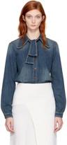 Chloé Blue Denim Bow Shirt