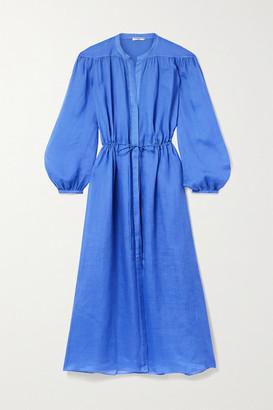 Three Graces London Julienne Gathered Ramie Midi Dress - Bright blue